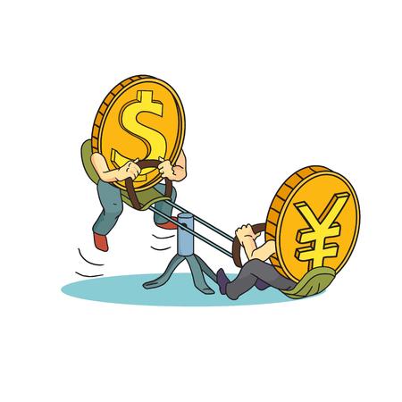 dollaro: Disegno Concetto: alto tasso di dollaro rispetto a yen. Yen e dollaro monete su barcollare. Yen vs dollaro