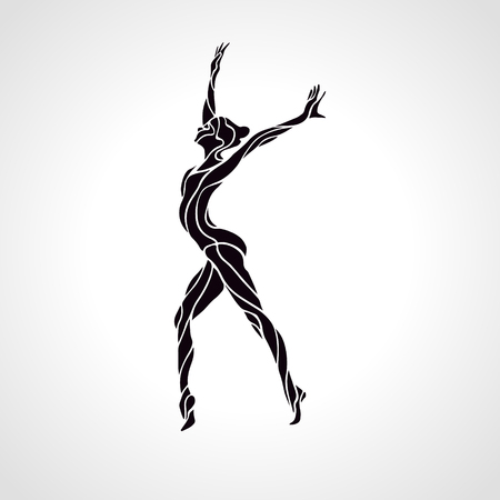 female gymnast: Creative silhouette of gymnastic girl. Art gymnastics, black and white vector illustration