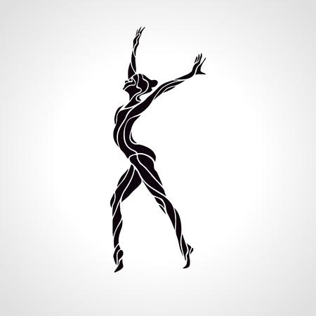 gimnasia ritmica: Silueta creativo de ni�a de gimnasia. Gimnasia de arte, ilustraci�n vectorial blanco y negro