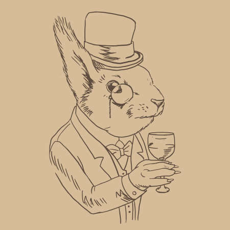 tailcoat: Lineart Portrait of Dandy Squirrel in monocle with Glass of Wine. Sophisticated animal. Squirrel in a suit dressed in Vintage Style, Retro Chic Illustration