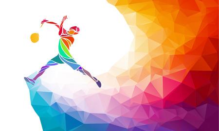 Badminton sport uitnodiging poster of flyer achtergrond met lege ruimte, bannermalplaatje in trendy abstracte kleurrijke veelhoek stijl. Vector illustratie