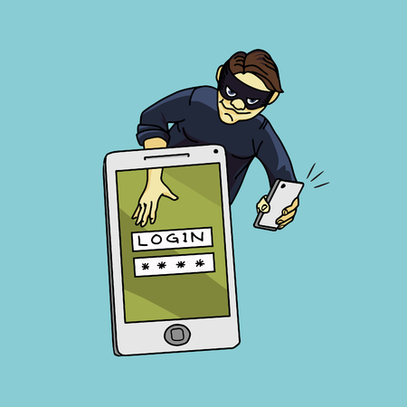 password: Social network hacker stealing password from smartphone screen, criminal on smart phone. Vector illustration Illustration