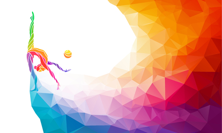 Creative silhouette of gymnastic girl. Art gymnastics with ball, colorful illustration with background or template in trendy abstract colorful polygon style and rainbow back Stock Illustratie
