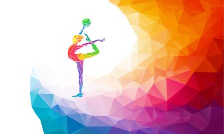 gimnasia ritmica: Silueta creativo de ni�a de gimnasia. Gimnasia de arte con la pelota, ilustraci�n colorida con el fondo o plantilla en estilo colorido del pol�gono abstracto de moda y el arco iris de regreso Vectores