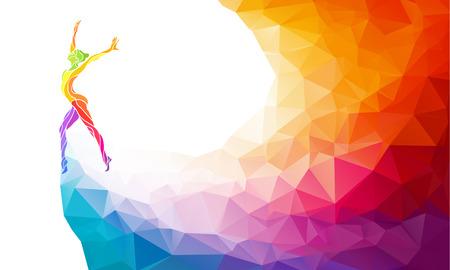disciplina: Silueta creativo de niña de gimnasia. Gimnasia de arte, ilustración colorida con el fondo o plantilla en estilo colorido del polígono abstracto de moda y el arco iris de regreso
