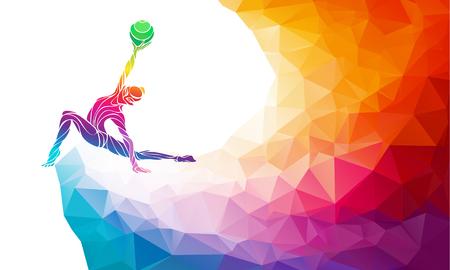 Creatieve silhouet van gymnastische meisje. Kunst gymnastiek met bal, kleurrijke afbeelding met de achtergrond of sjabloon in de trendy abstracte kleurrijke veelhoek stijl en regenboog terug