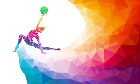 balls kids: Creative silhouette of gymnastic girl. Art gymnastics with ball, colorful illustration with background or template in trendy abstract colorful polygon style and rainbow back Illustration