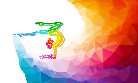 체조 소녀의 크리 에이 티브 실루엣. 공 예술 체조, 다시 유행 추상 다채로운 다각형의 스타일과 무지개 배경 또는 서식 다채로운 그림