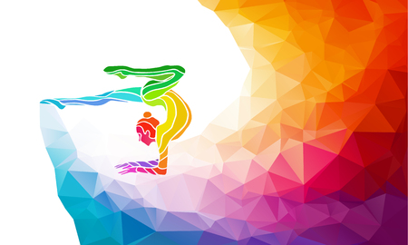 Creative silhouette of gymnastic girl. Art gymnastics with ball, colorful illustration with background or template in trendy abstract colorful polygon style and rainbow back Vectores