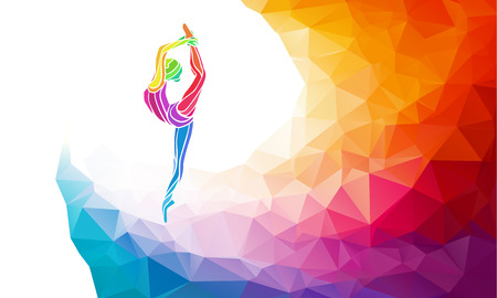 gymnastics: Creative silhouette of gymnastic girl. Art gymnastics, colorful illustration with background or template in trendy abstract colorful polygon style and rainbow back