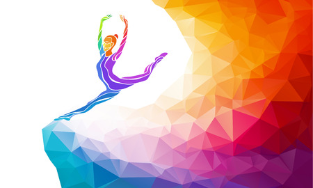 female gymnast: Creative silhouette of gymnastic girl. Art gymnastics, colorful illustration with background or template in trendy abstract colorful polygon style and rainbow back