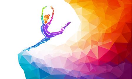 Silueta creativo de niña de gimnasia. Gimnasia de arte, ilustración colorida con el fondo o plantilla en estilo colorido del polígono abstracto de moda y el arco iris de regreso
