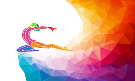 deporte: Silueta creativo de niña de gimnasia. Gimnasia de arte, ilustración colorida con el fondo o plantilla en estilo colorido del polígono abstracto de moda y el arco iris de regreso