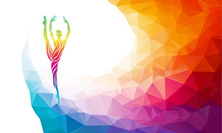 gimnasia: Silueta creativo de ni�a de gimnasia. Gimnasia de arte, ilustraci�n colorida con el fondo o plantilla en estilo colorido del pol�gono abstracto de moda y el arco iris de regreso