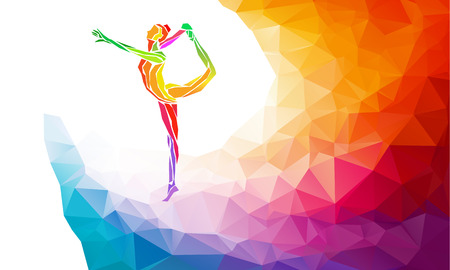 Creative silhouette of gymnastic girl. Art gymnastics, colorful illustration with background or template in trendy abstract colorful polygon style and rainbow back Reklamní fotografie - 47558908