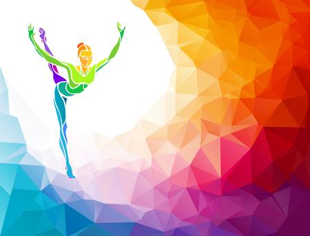 gimnasia ritmica: Silueta creativo de ni�a de gimnasia. Gimnasia de arte, ilustraci�n colorida con el fondo o plantilla en estilo colorido del pol�gono abstracto de moda y el arco iris de regreso