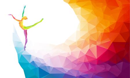 Creatieve silhouet van gymnastische meisje. Kunst gymnastiek, kleurrijke afbeelding met de achtergrond of sjabloon in de trendy abstracte kleurrijke veelhoek stijl en regenboog terug