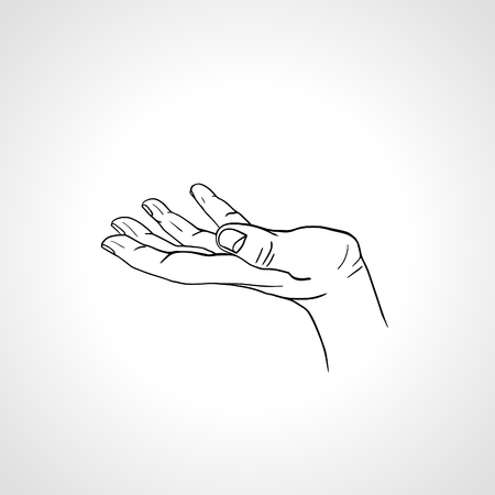 beg: Open empty line art drawing hand Isolated on white background. Close up of human hand. Male hand with empty place for holding something. Open palm hand gesture of male hand. Outline drawing