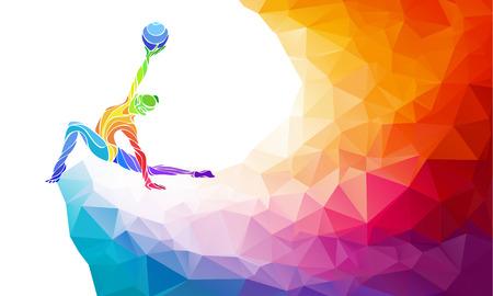 Творческий силуэт гимнастический девушки. Художественная гимнастика с мячом, красочные иллюстрации с фоном или шаблона в модном стиле абстрактные красочные многоугольника и радуга задней