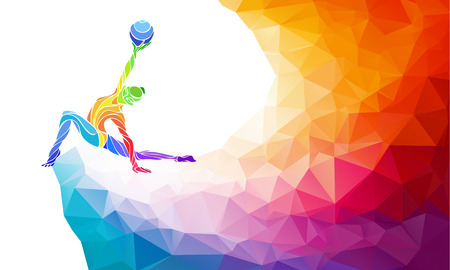 Creative silhouette of gymnastic girl. Art gymnastics with ball, colorful illustration with background or template in trendy abstract colorful polygon style and rainbow back Ilustração