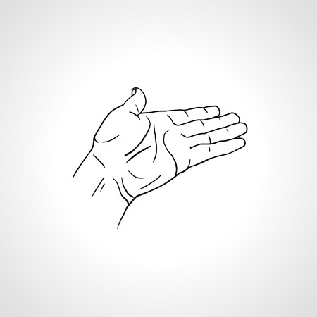 begging: Open empty line art drawing hand Isolated on white background. Close up of human hand. Male hand with empty place for holding something. Open palm hand gesture of male hand. Outline drawing
