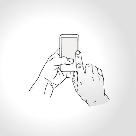 telefono caricatura: explotaci�n de la mano y toque en el tel�fono inteligente con pantalla en blanco sobre fondo blanco, gestos t�ctiles de tel�fonos m�viles - tocar la pantalla. Vectores