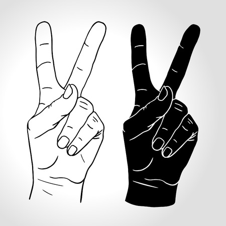 illustration: Hand with two fingers up in the peace or victory symbol. Also the sign for the letter V in sign language. Isolated on white.