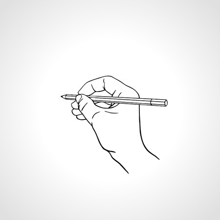hand outline: illustration of a hand is writing with a pencil. Handwriting with a pencil, vector outline