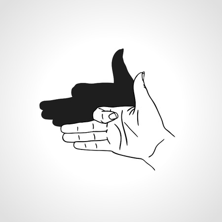 human face: Hand gesture like dog face with shadow. Concept of make-believe danger. Outline illustration Illustration