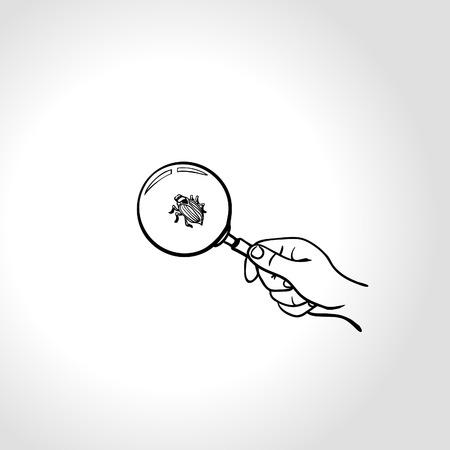 debug: Concept: code bug. Watching a bug with magnifying glass, Hand with magnifying glass is searching for computer bug