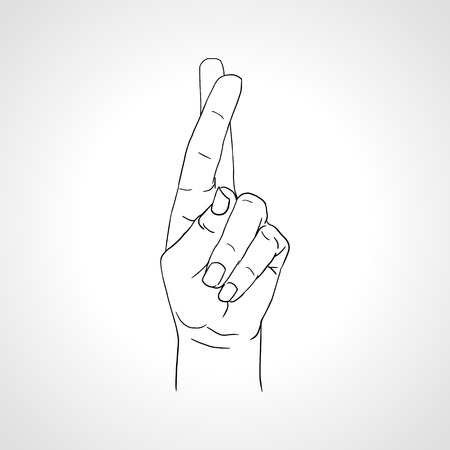 Drawing crossed fingers illustration on white background -- Good luck clipart Çizim