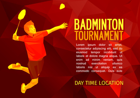 badminton: Unusual colorful triangle shape: Geometric polygonal professional badminton player, pattern design, illustration with empty space for poster, banner, web. Shades of red background.