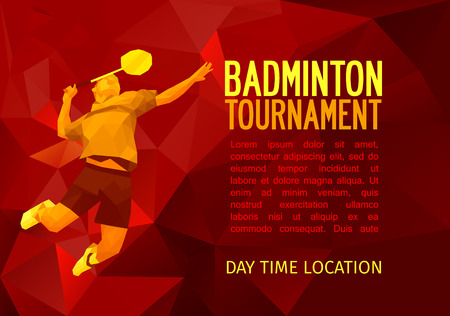 Unusual colorful triangle shape: Geometric polygonal professional badminton player, pattern design, illustration with empty space for poster, banner, web. Shades of red background.