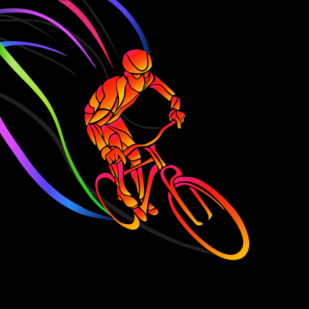 overtone: Professional cyclist involved in a bike race. artwork in the style of paint strokes.