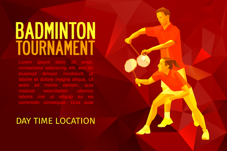 Badminton mixed doubles team, man and woman start badminton game, sports illustration in polygonal triangles design style