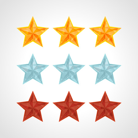 estimation: Star Rating Template Vector IN POLYGONAL style