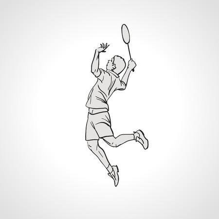 smash: Vector illustration of Badminton player. Black and white badminton player during smash shot. Hand drawn.