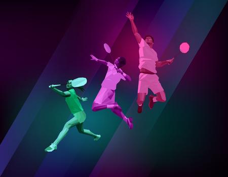 team sports: Cartel de deportes con jugadores de bádminton de colores sobre fondo oscuro. Polígonos de moda, ilustración vectorial