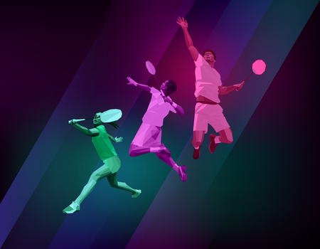 badminton racket: Sports poster with badminton players colorful on dark background. Trendy polygons, vector illustration