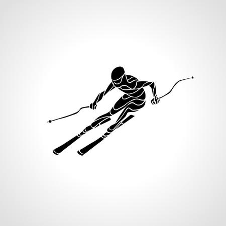 slalom: Ski downhill. Creative silhouette of the skier. Giant Slalom Ski Racer. Vector illustration