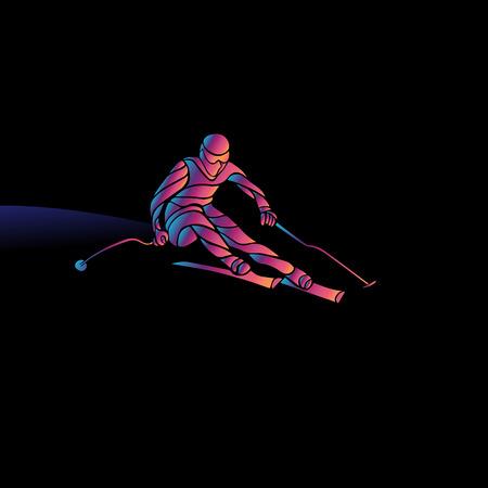 black giant mountain: Ski downhill. Creative silhouette of the skier. Giant Slalom Ski Racer. Color vector illustration Illustration