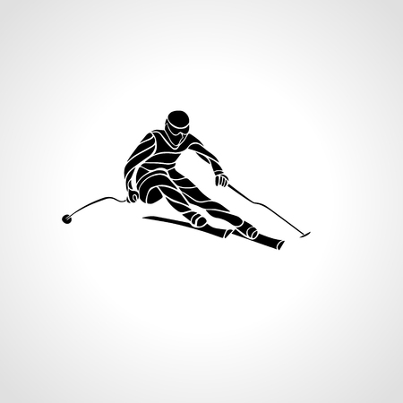 black giant mountain: Ski downhill. Creative silhouette of the skier. Giant Slalom Ski Racer. Vector illustration