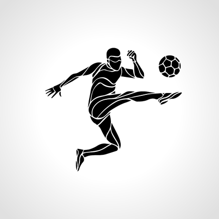 Football or Soccer player kicks the ball. The colorful vector illustration on black background. Çizim