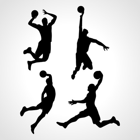 バスケット ボール選手コレクション ベクトル。バスケット ボール選手の 4 シルエット