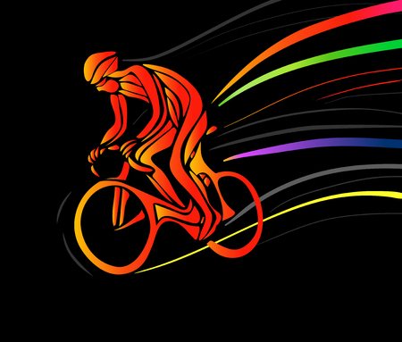 Professional cyclist in a bike race. Vector artwork in the style of paint strokes on black background. Vector illustration