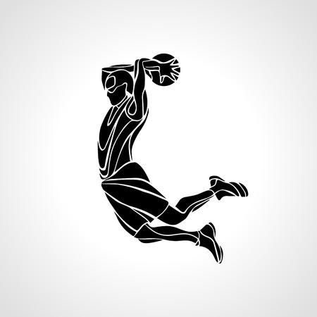 dunk: Basketball player. Slam Dunk Silhouette. Vector illustration
