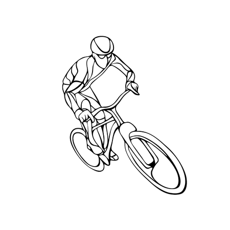 bicyclist: Abstract creative silhouette of bicyclist. Black cyclist wave style. Vector illustration of bike