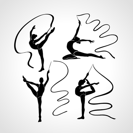 Collection 4 Creative silhouettes of gymnastic girls. Art gymnastics with ribbon, black and white vector illustration set