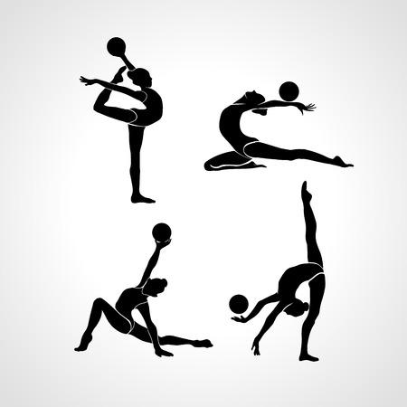 コレクション 4 体操女子の独創的なシルエット。ボール、黒と白のベクトル図とアート体操セット