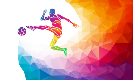 Creative soccer player. Football player kicks the ball, colorful vector illustration with background or banner template in trendy abstract colorful polygon style and rainbow back 일러스트